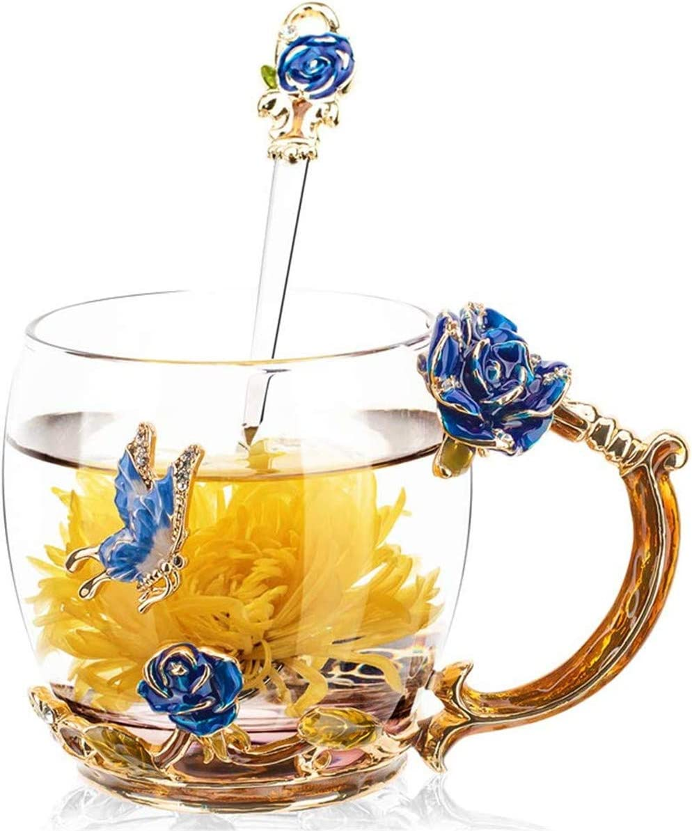 VANUODA Esmaltes Taza de Té Mariposa Flor, Mug Café Vidrio con Cuchara, Regalos Originales para Mujer Mama Madre Abuela Maestra Novia Niñas Amigas, Navidad Cumpleaños Aniversario (Azul)
