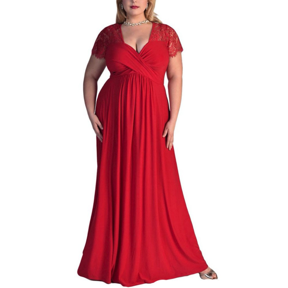 iLUGU Casul Maxi Dress for Women Lace Short Sleeve V-Neck Solid Color Plus Size High Waist Evening Cocktail Gown Long Red