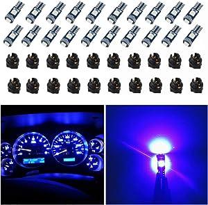WLJH 74 Led Bulb Dash Lights Mini T5 2721 27 37 286 Wedge PC74 Twist Socket Automotive Instrument Panel Gauge Light Kits Cluster Shift Indicator Interior Bulbs 12V Blue Pack of 20
