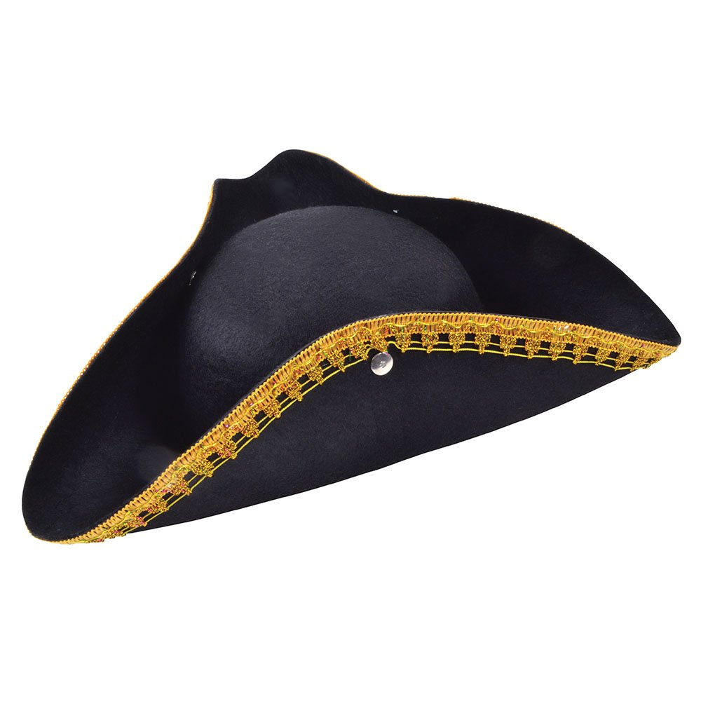 Bristol Novelty BH461 Tricorn Hat and Gold Trim d0479d51e284