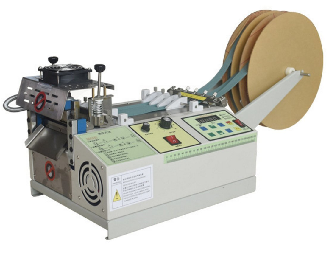 Automatic Belt Tape Cutting Machine Automatic Cutter for Elastic Band Braided Strap Leather Cutting Width 4.9''/125mm (Hot & cold cutting, 110v)