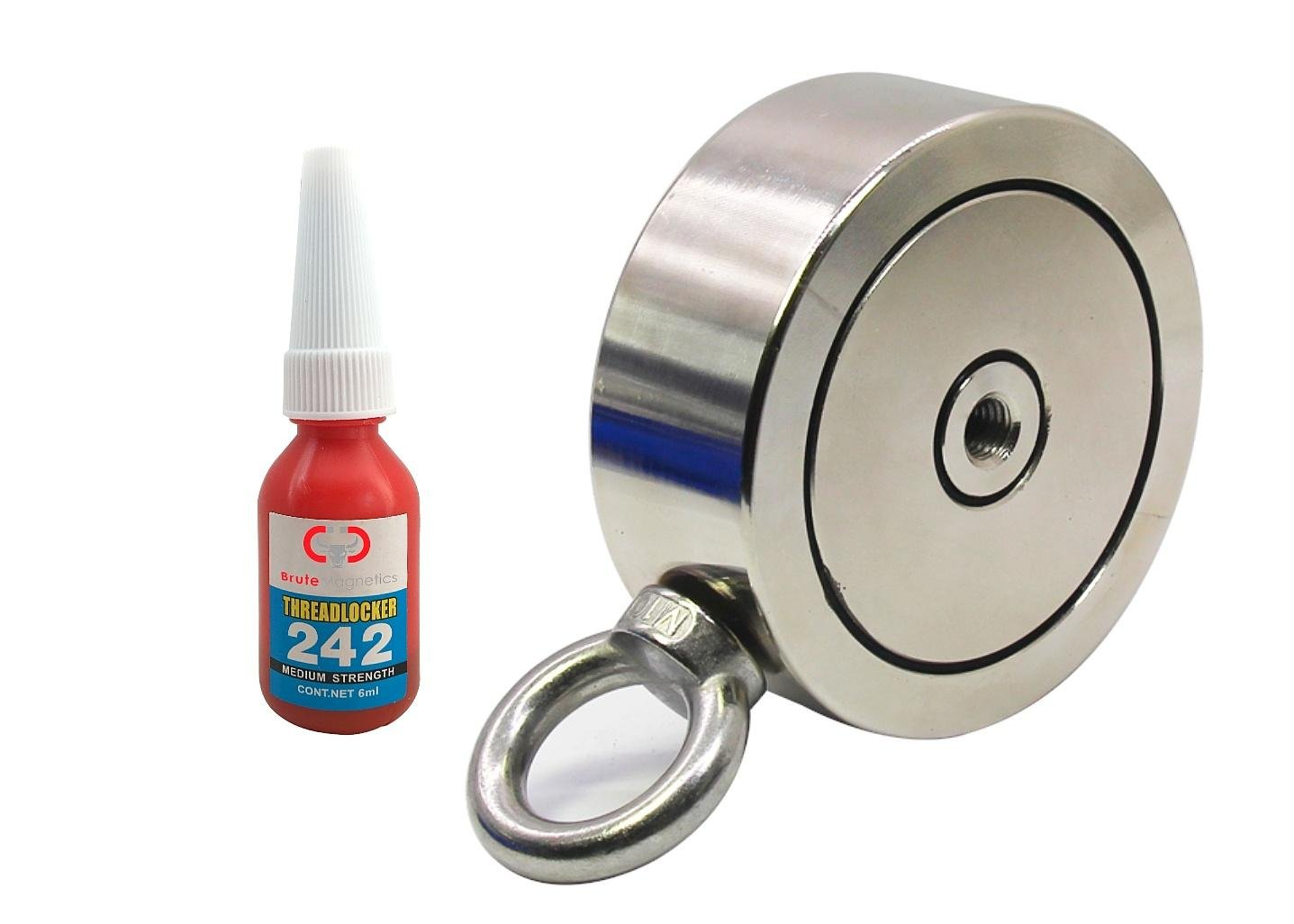 1,200 lbs (Combined) Pulling Force, Brute Magnetics Double Sided Round Neodymium Magnet with Eyebolt, 3.70'' Diameter