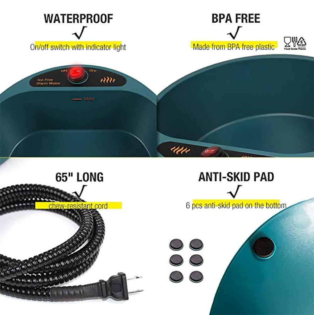 DAN Heated Pet Pet Pet Bowl-Ciotola Termica, Ciotola per L'acqua Riscaldata All'aperto, Acqua Senza Ghiaccio per Cani O Gatti 52432e