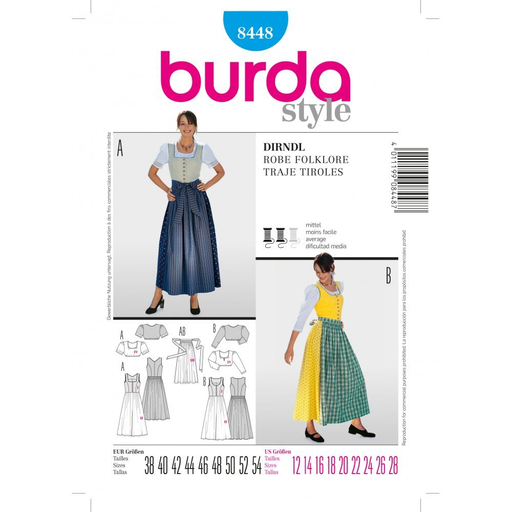 Amazon.com: Burda Style – Patrón 8448 tirolesa Vestido ...