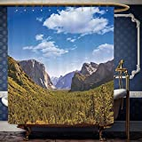 What Is the Width of a California King Bed Wanranhome Custom-made shower curtain Farm HouseYosemite El Capitan and Half Dome in California National Parks US Summertime Green Blue For Bathroom Decoration 72 x 96 inches