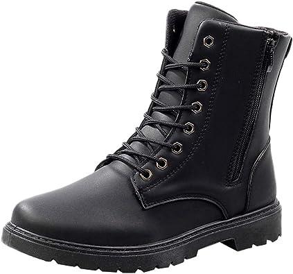 Fheaven Men's Leather Boots Lace Up