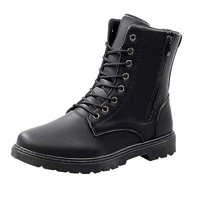 e10a85a6a56e8 Amazon.com: Fheaven Men's Leather Boots Lace Up Boots Mens Combat Boot  Autumn Winter British Booties: Shoes