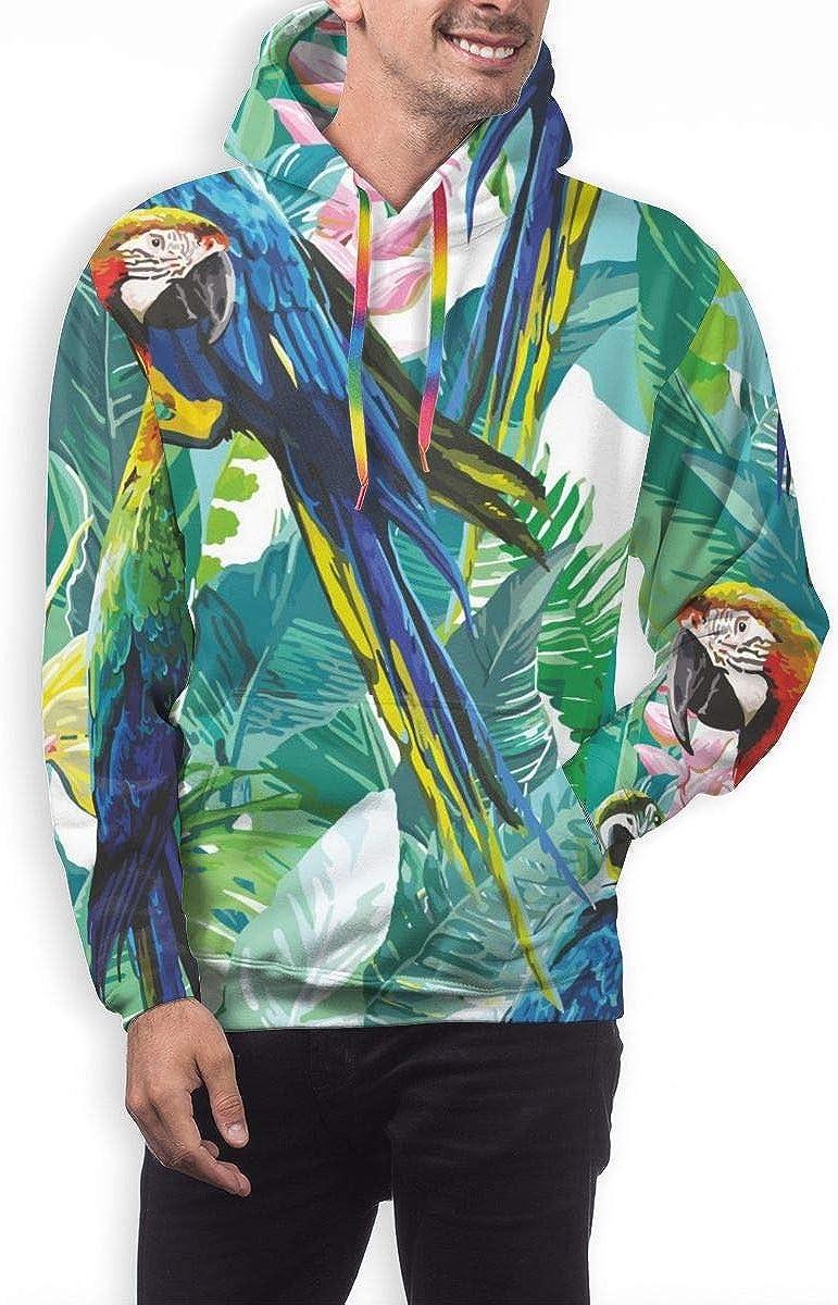 Mens Hoodie Colorful Parrots Exotic Flowers Sweate Sweatshirt Mens Casual Hoodie Casual Top Hooded