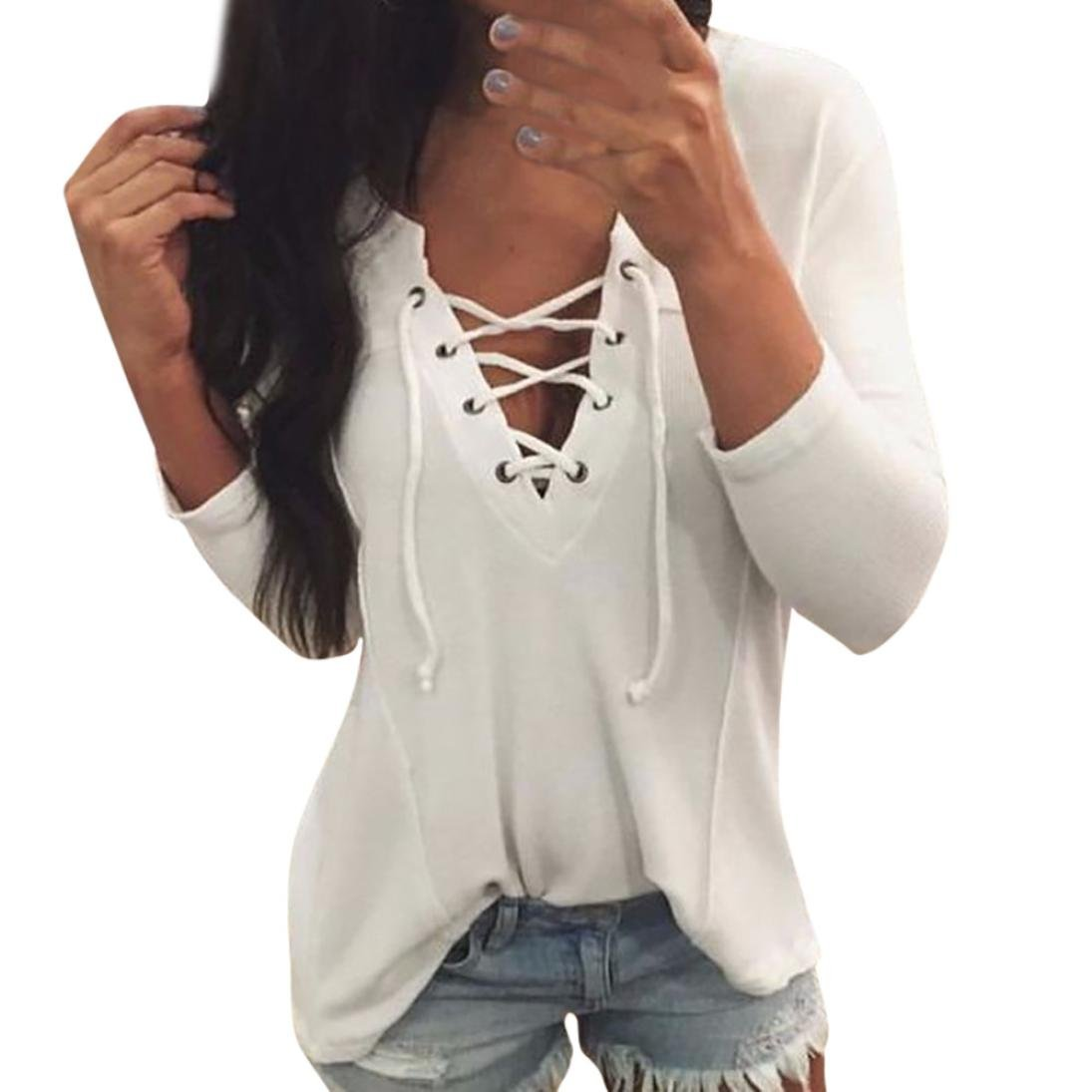 kingfansion Women Lace-up Casual Long Sleeve Tops Shirt Ladies Loose T-Shirt Blouse kingfansion women top