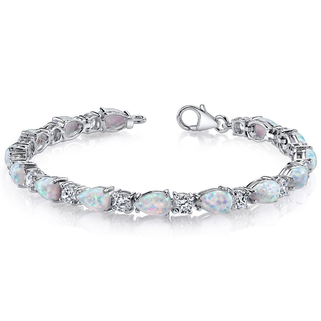 Peora Created Opal Bracelet Sterling Silver Tear Drop 10.00 Carats by Peora