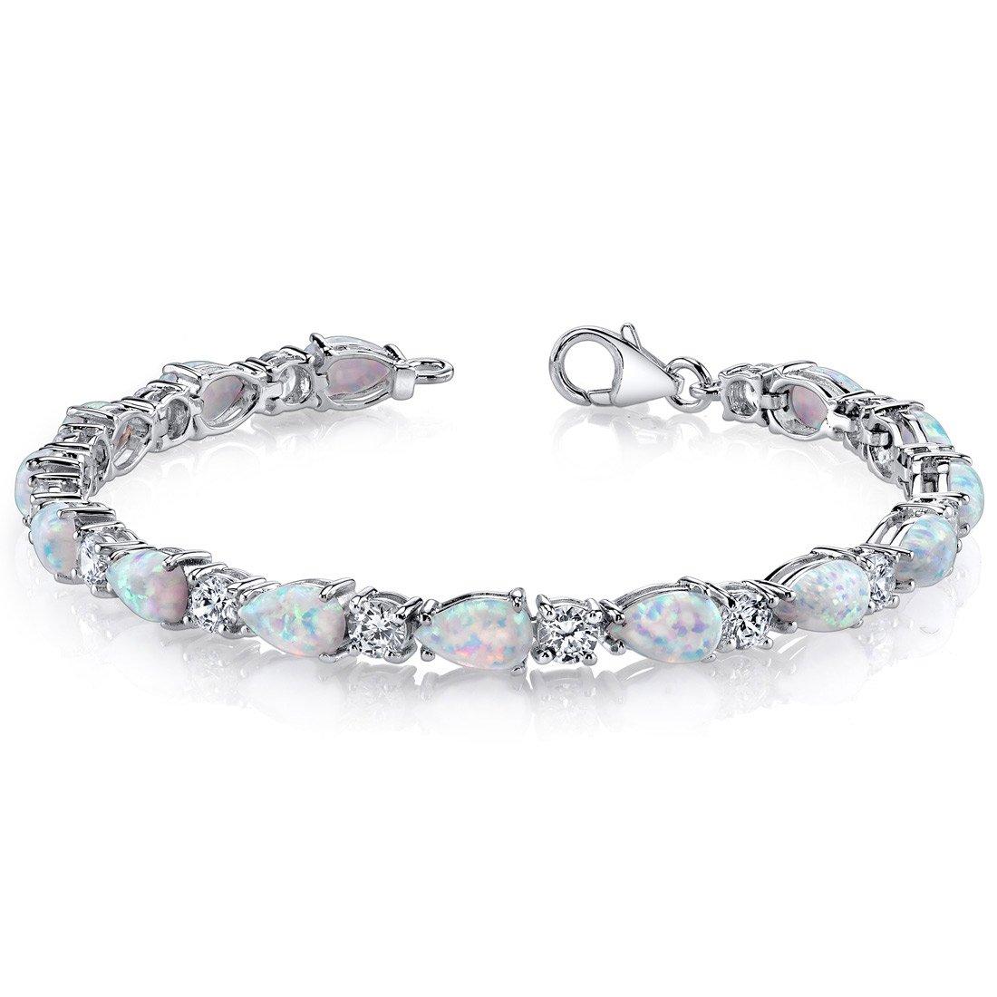 Created Opal Bracelet Sterling Silver Tear Drop 10.00 Carats Peora SB4338