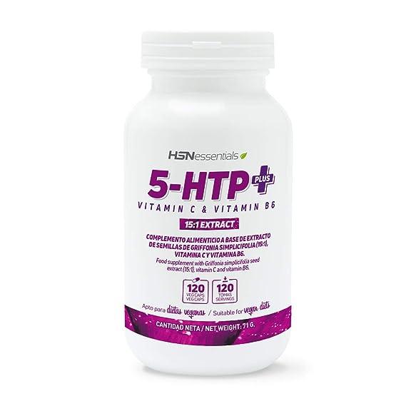 5-HTP Plus de HSN Essentials | 200mg | Con Vitamina C y B6 | Extracto 15:1 Griffonia Simplicifolia | Mejora del Sueño, Reduce Estrés | Vegano, Sin Gluten, ...