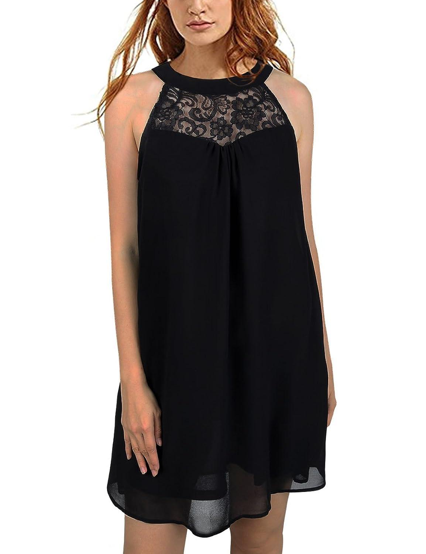688cb27147f70 Online Cheap wholesale Faddare Womens Halter Neck Chiffon Swing Pleated  Short Dress Sundress Dresses Suppliers