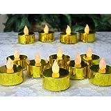 Gold Candles - Set of 12 Metallic Gold LED Tea Light Candles - Flameless Candles - Flickering Candles - Gold Wedding Decorations - 50th Wedding Anniversary Decorations - Over the Hill Decorations - Restaurant Candles