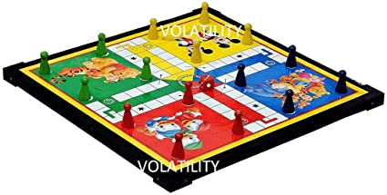 VOLATILITY Wooden Board 12-12 Ludo Snakes & Ladders (Multicolour, Large (Snakes & Ladders))
