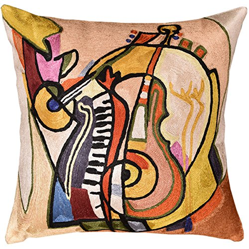 "Kashmir Designs Music is my Life by Alfred Gockel Accent Pillow Cover Handmade Art Silk 18"" x 18"""