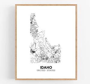 Eleville 8X10 Unframed Idaho United States Country View Abstract Road Modern Map Art Print Poster Wall Office Home Decor Minimalist Line Art Hometown Housewarming wgn169