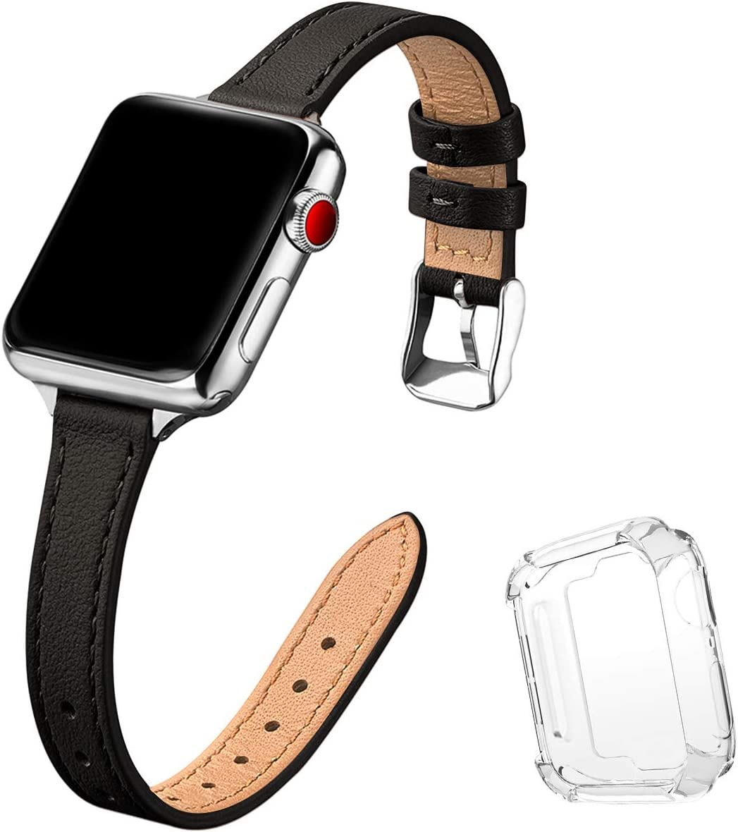 STIROLL Slim Leather Bands Compatible with Apple Watch Band 38mm 40mm 42mm 44mm, Top Grain Leather Watch Thin Wristband for iWatch SE Series 6/5/4/3/2/1 (Black with Silver, 42mm/44mm)