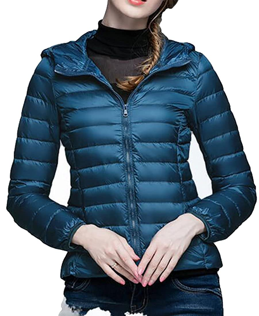 Fulok Womens Winter Lightweight Packable Puffer Hooded Down Jackets