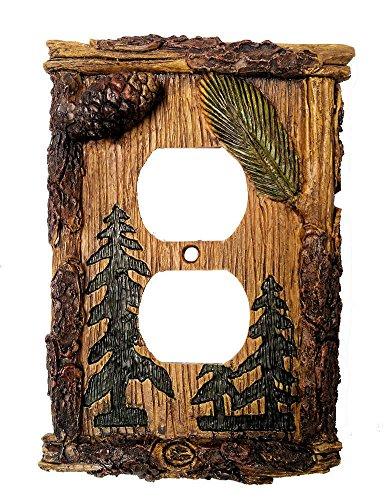 Rustic Cabin Decor Pinecone & Pine Tree Outlet Cover