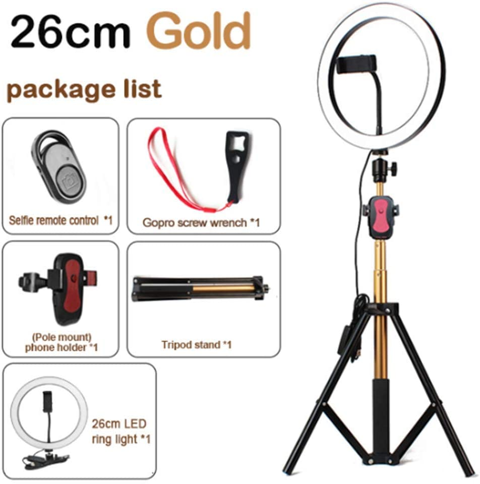 FDGBCF LED Ring Light 10 inch 5600K Light Lamp Dimmable Photography Studio Phone Video with 150CM Tripod Selfie Stick USB Plug for Canon,26cmpink