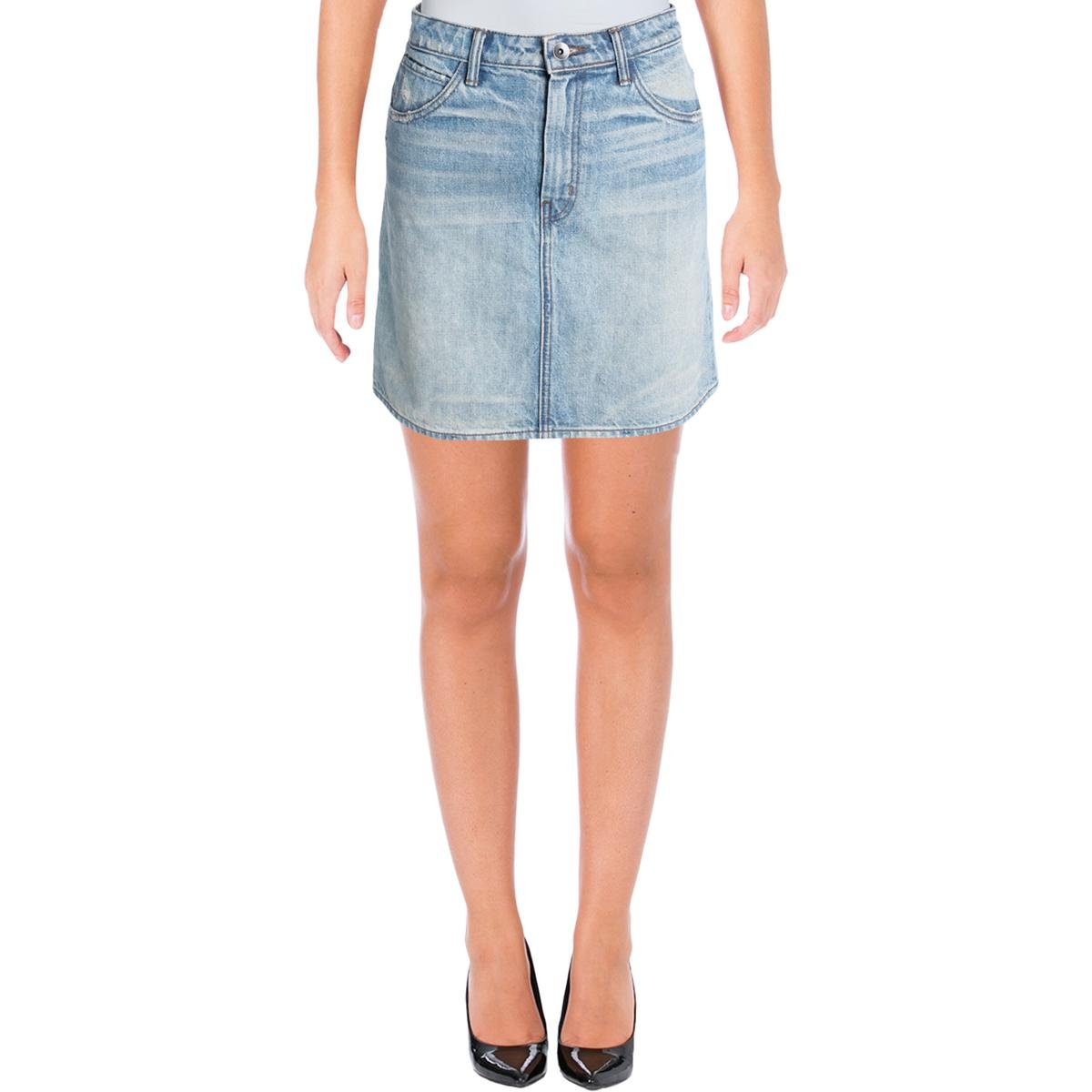 Helmut Lang Womens Faded Mini Denim Skirt Denim 26