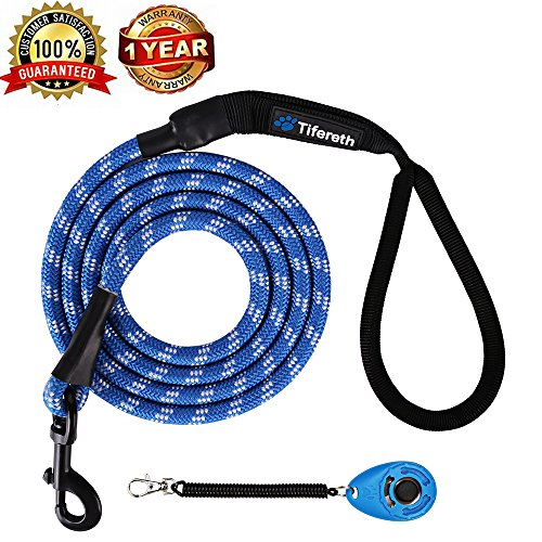 Tifereth Dog Leashes for Medium and Large Dogs Mountain Climbing Rope Dog Leash 6 ft Long Supports The Strongest Pulling Large and Medium Sized Dogs(Free Dog Training Clicker) (6 Feet, Blue)