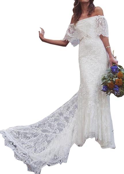 Amazon.com: Datangep vestido de novia de playa bohemio con ...
