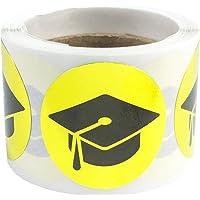 Graduation Cap Stickers Metallic Gold 1 Inch Round Circle Dots 100 Adhesive Labels