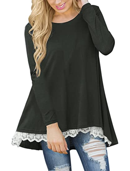 558dcdb56c8c0 Lasvane Women Black Long Sleeve Tops for Leggings Lace Casual Tunic. Roll  over image to zoom in
