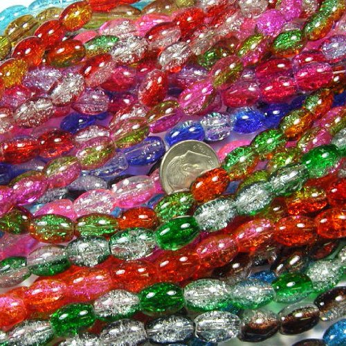 BSI - Mix Color 2-tone Crackle Lampwork Glass - Loose Beads (1/4 Pound Oval 11mm)