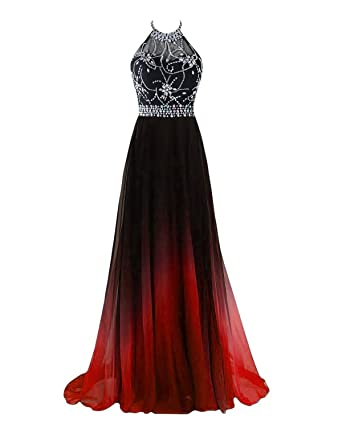 YY Gradient Beads Halter A-Line Prom Dresses Ombre Long Chiffon Backless Party Dresses YY014