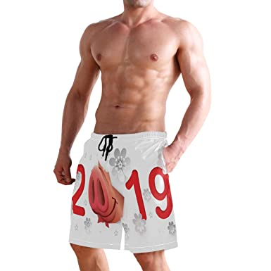 Womens Beach Shorts Pig Nose 2019 Swim Trunk with Pockets