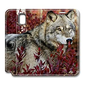 Brain114 Fashion Style Case Design Flip Folio PU Leather Cover Standup Cover Case with Wolf Autumn Pattern Skin for Samsung Galaxy Note 3