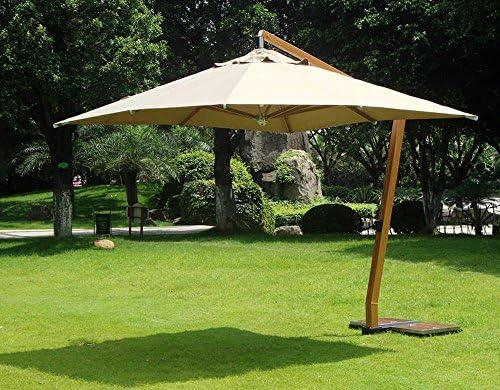 Sombrilla cuadrada, 3,5 x 3,5 m, color madera y poliéster,-PEGANE-360 g, color arena: Amazon.es: Hogar