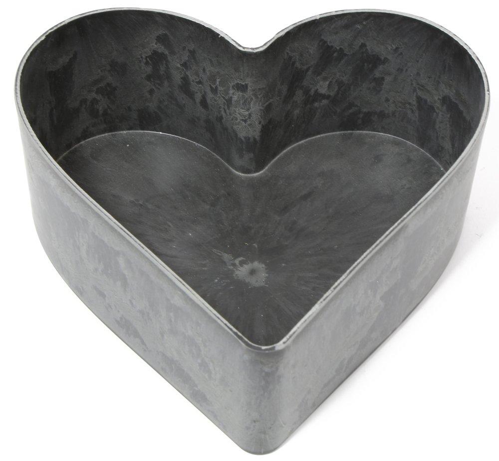 Cuore guscio stagno effetto grigio Piante A Forma Di Cuore 26x 24cm–Vaso decorazione da tavolo Huwi