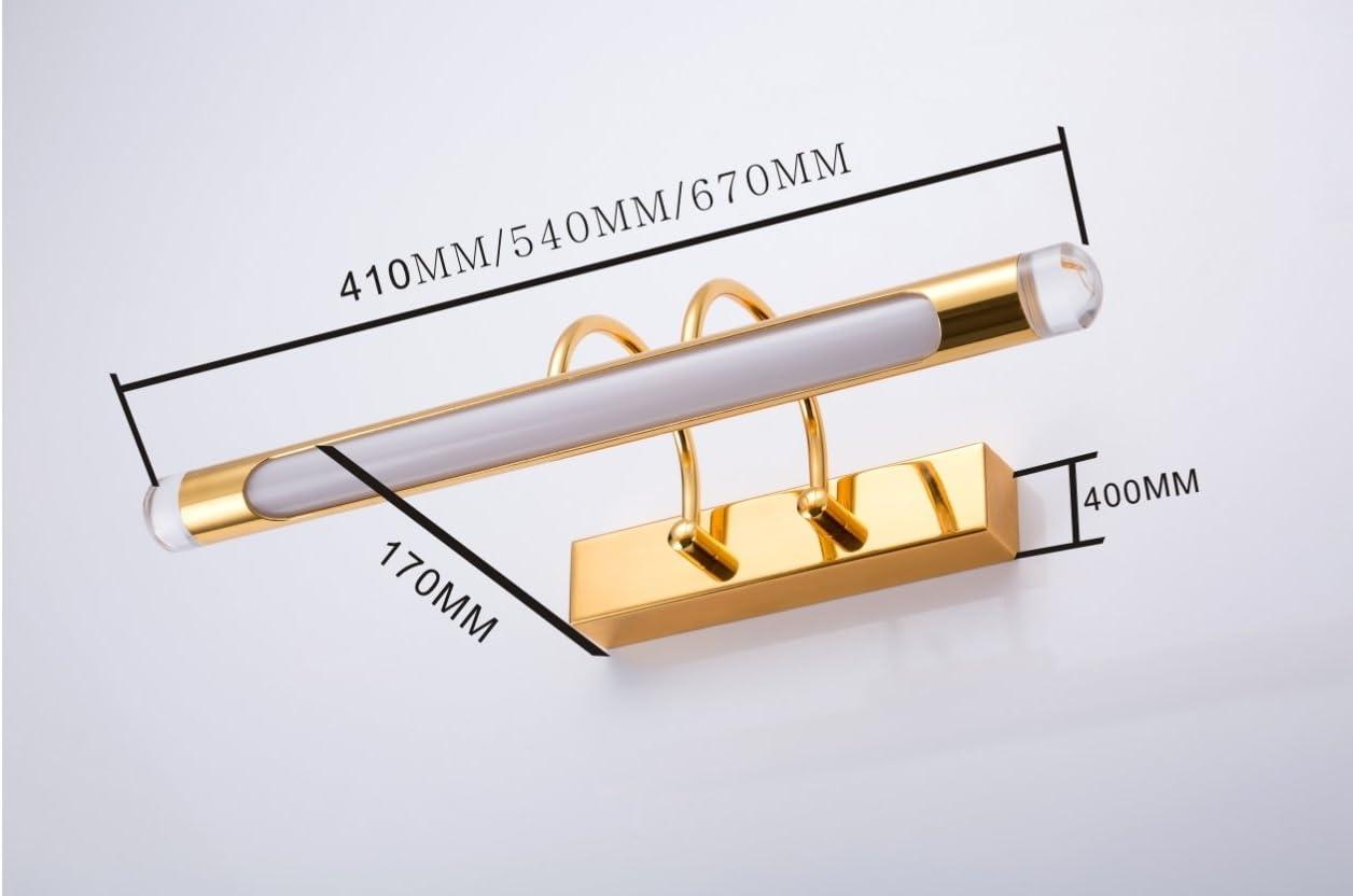 LED Spiegelleuchte Badlampe 6W Beleuchtung Spiegelschrank Bad Spiegellampe Wandleuchte 41cm 190-240V Badleuchte Schranklampe Schrankleuchte 180 ° Winkel Verstellbar Gold(6w Kaltes Weißes Licht)