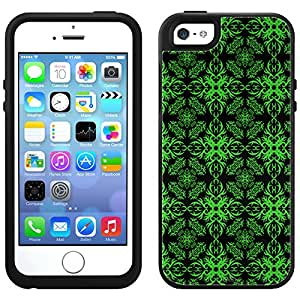 Skin Decal for OtterBox Symmetry Apple iPhone 5 Case - Victorian Astonishing Green on Black