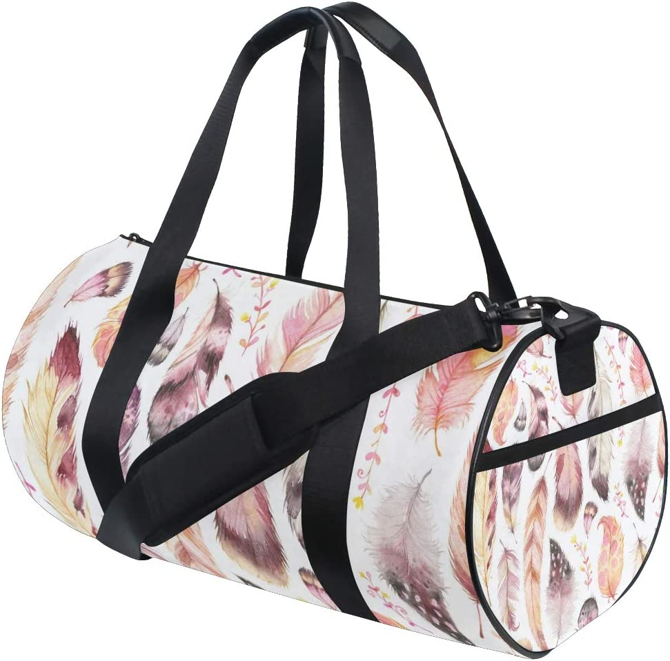 MALPLENA Birds Feather Drum gym duffel bag women Travel Bag
