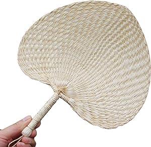 WASSON Hand Made Fan Rattan Decoration, Party Fan Wedding Women Gift, Palm Leaf Fans Bamboo Handheld 1 PCS