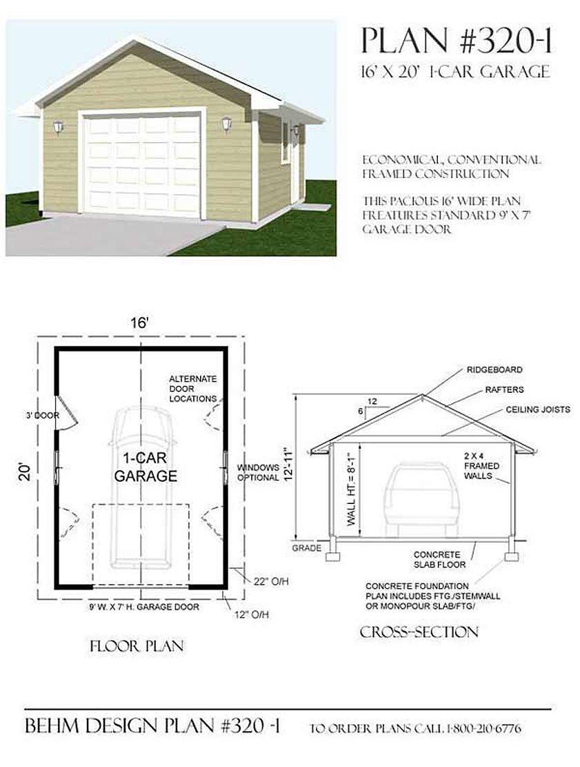 Garage Plans 1 Car Garage Plan 3201 16 x 20 one car – Garage Foundation Plans