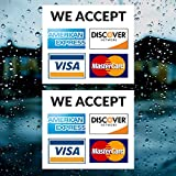 Credit Card Vinyl Sticker Decal - 2 PACK - We Accept - Visa, MasterCard, Amex and Discover - 3.5' x 3.5' Vinyl Decal For Window - Shop, Cafe, Office, Restaurant