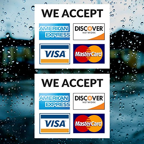 Credit Card Vinyl Sticker Decal - 2 PACK - We Accept - Visa, MasterCard, Amex and Discover - 3.5
