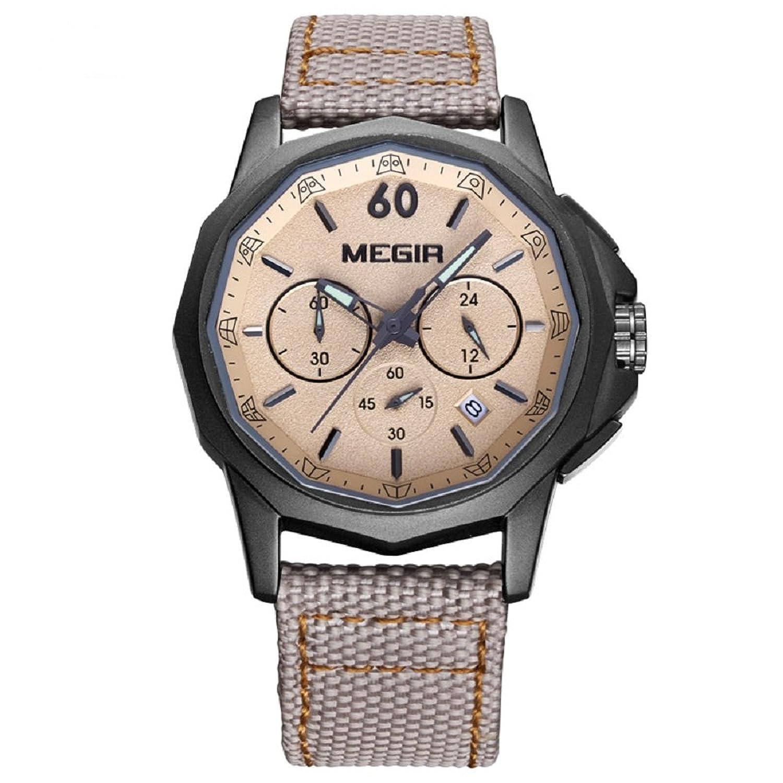 Herren Quarz Handgelenk Uhren Leinwand Leder Analog Wasserdicht Luminous Chronograph Armbanduhr