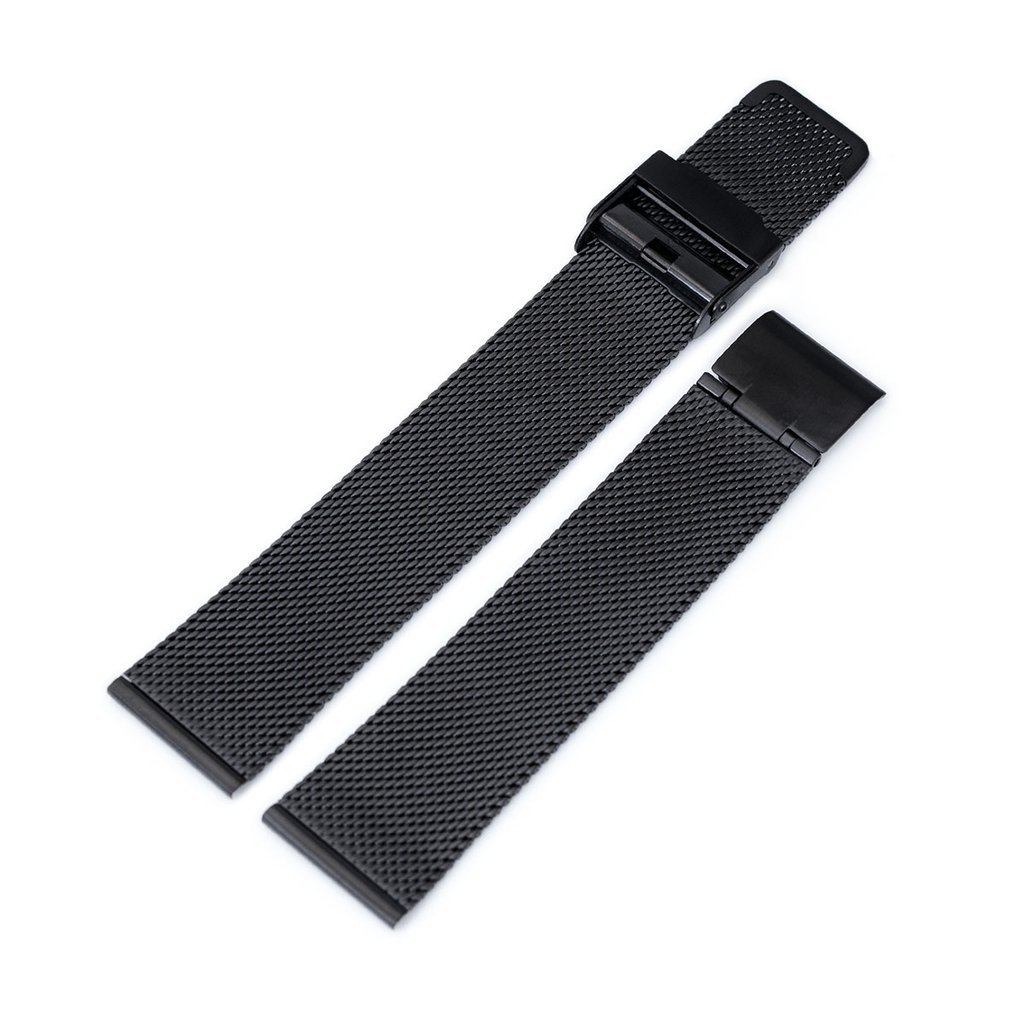 20mm Classic Vintage Knitted Superfine Wire Mesh Watch Band, PVD Black by MiLTAT (Image #3)