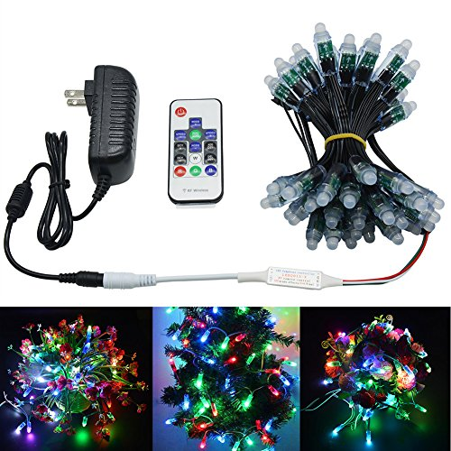 WESIRI WS2811 Diffused Digital RGB LED Pixel Lights Kit Black Wire Addressable Round DIY LED Pixels Module with RF Remote Controller and 5V 3A Adapter