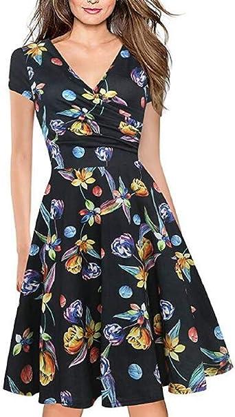Vestidos Verano Mujer Vintage Elegantes Floral Azul Y Rojo Boho Chic Vestidos Tallas Grandes Sexy Cuello En V Vestidos Hasta La Rodilla Plisado Vestido Coctel Fiesta Casual Amazon Es Ropa Y Accesorios