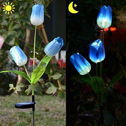 Tonver - Lámpara solar para exteriores con tulipanes LED, luz solar, para jardín, patio, patio, patio, patio, paisaje en el suelo, luces de flores (azul): Amazon.es: Iluminación