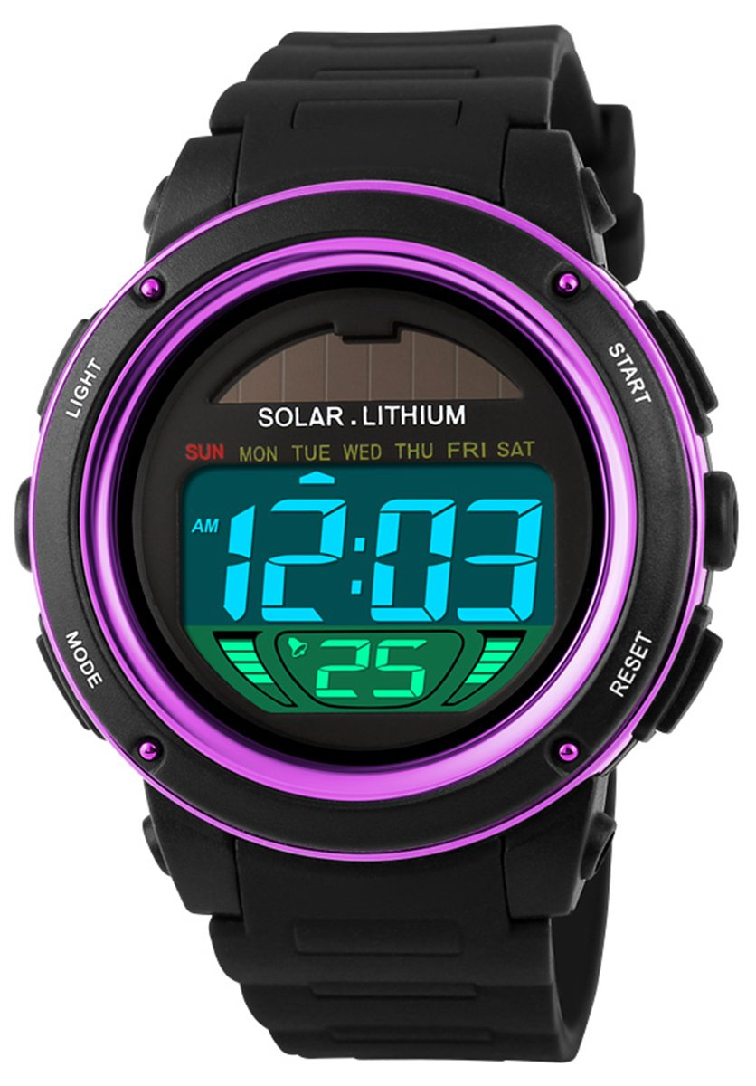 Amazon.com: Mastop Women Solar Power Watch LED Sport Watches Digital Waterproof Wrist Watch Purple: Health & Personal Care