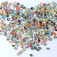 ZWSISU Mixed Glass Material Snaps Chunk Press Buttons 12mm for DIY Bracelet Necklace(pack of 50+1pc bracelet)